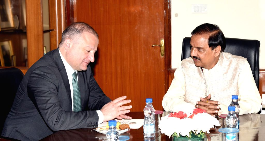 Ambassador of Georgia to India, Archil Dzuliashvili meets Union MoS Culture and Environment, Forest and Climate Change Mahesh Sharma in New Delhi, on Feb 8, 2019. - Change Mahesh Sharma