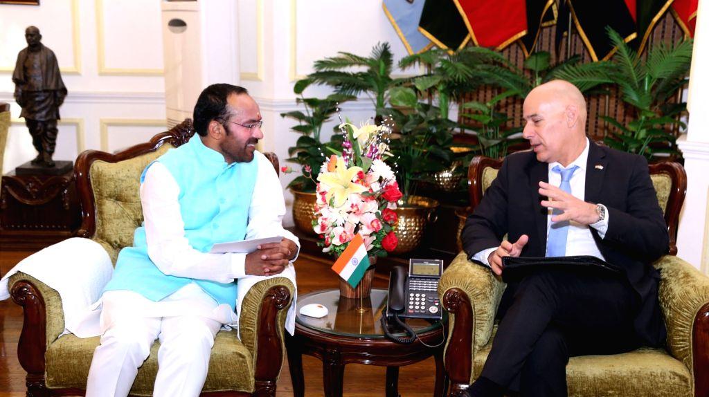 Ambassador of Israel to India, Ron Malka meets Union MoS Home Affairs G. Kishan Reddy, in New Delhi on July 19, 2019.