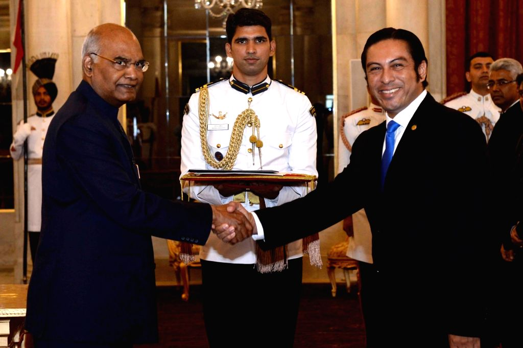 Ambassador of the Republic of El Salvador, Ariel Andrade Galindo presents his credentials to President Ram Nath Kovind at Rashtrapati Bhavan, in New Delhi on July 11, 2018. - Nath Kovind