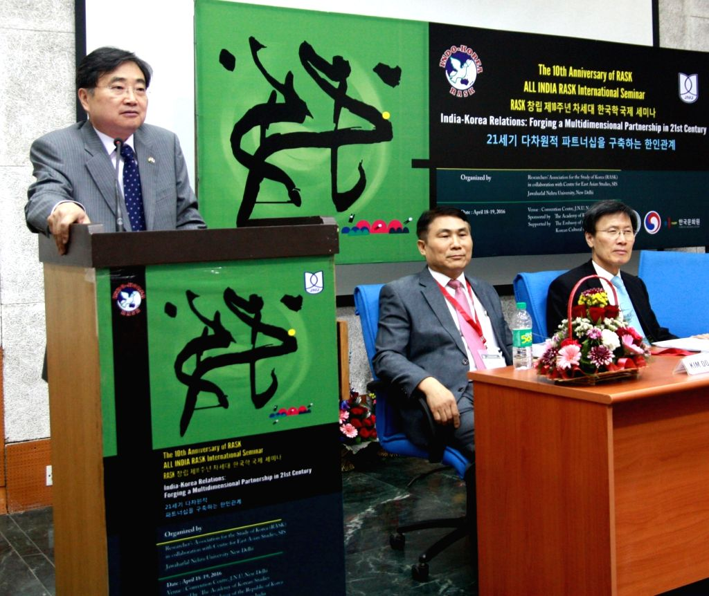 Ambassador of the Republic of Korea Dr Cho Hyun with Prof Kim Do-Young and Prof. Yoon Young-Kwan of Seoul National University during 10th International RASK Seminar in New Delhi on April ...