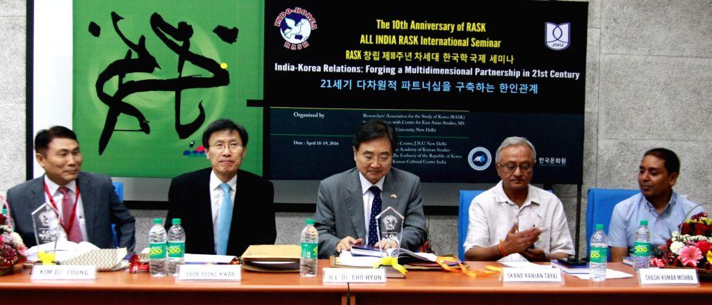 Ambassador of the Republic of Korea Dr Cho Hyun with Prof Kim Do-Young, Prof. Yoon Young-Kwan of Seoul National University and president RASK Shashi Mishra during 10th International RASK ... - Shashi Mishra