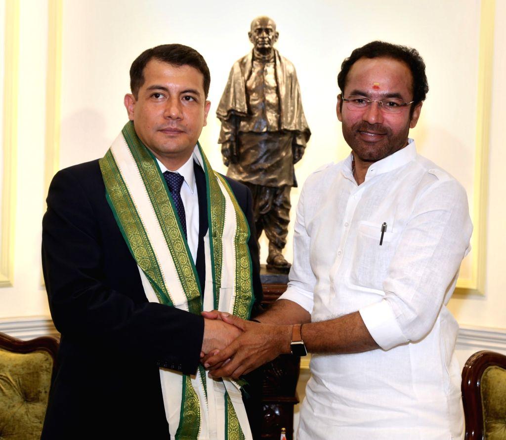 Ambassador of Uzbekistan to India Farhod Arziev calls on Union MoS Home Affairs G. Kishan Reddy in New Delhi, on Sep 4, 2019.
