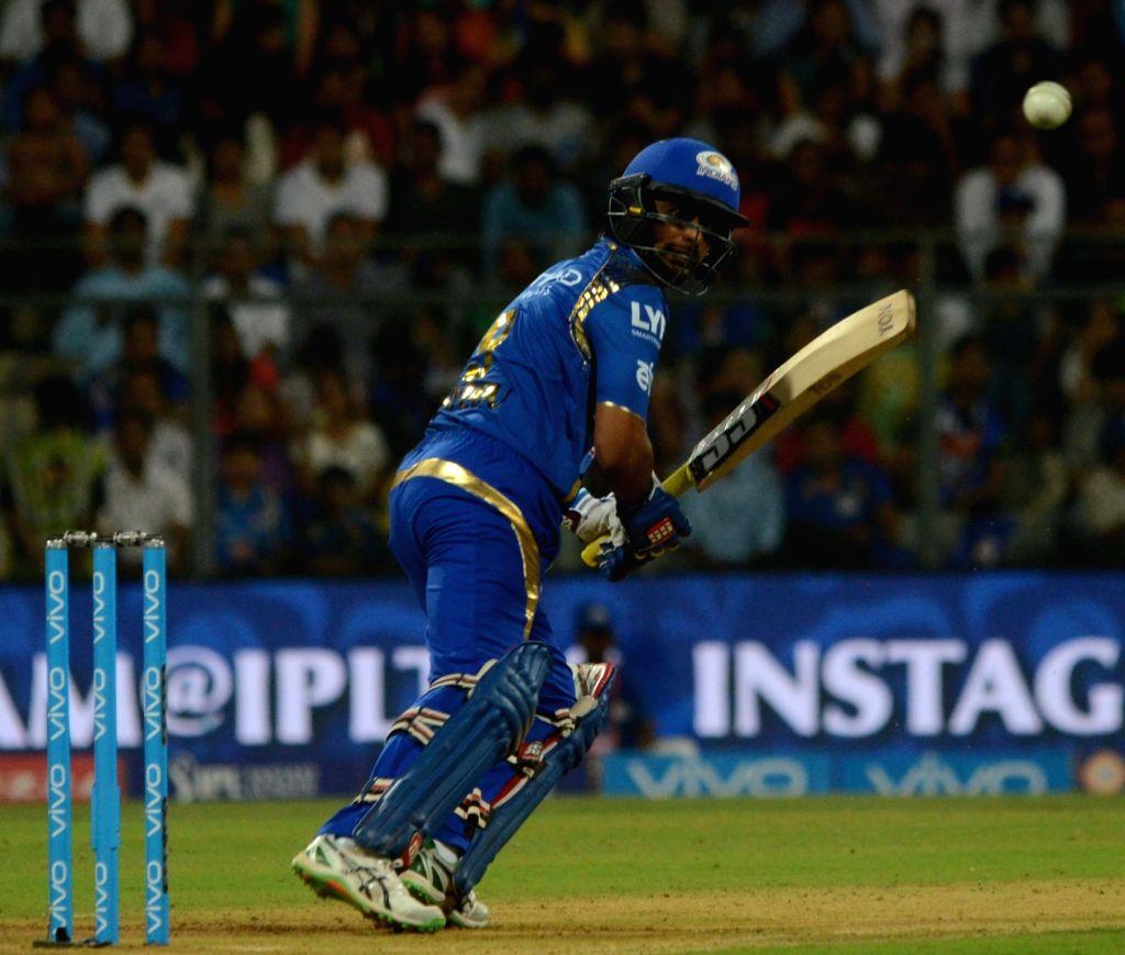 Ambati Rayudu of Mumbai Indians during IPL match between  Mumbai Indians and Royal Challengers Bangalore at Wankhede Stadium in Mumbai on April 20, 2016.