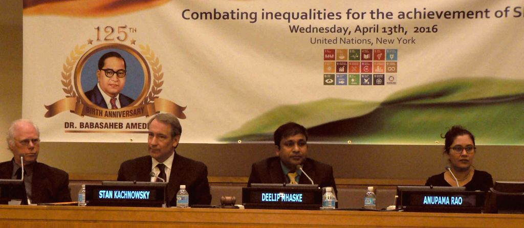 """Ambedkar's 125th birthday was celebrated Wednesday, April 13, 2016, with a panel discussion on """"Combating inequalities for the achievement of Sustainable Development Goals."""" Participants were ..."""