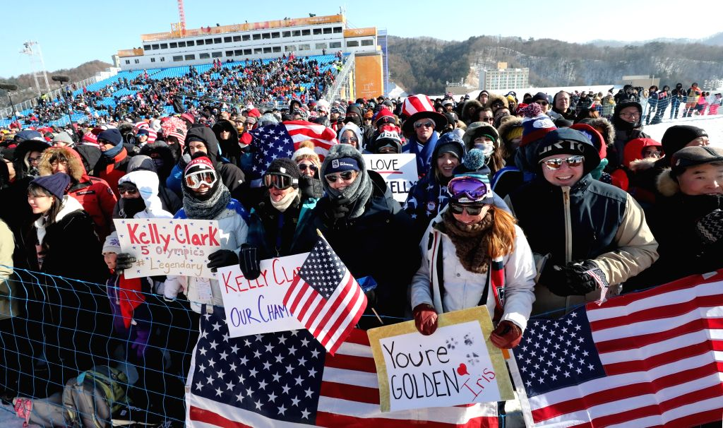 American fans cheer for Chloe Kim and other U.S. boarders at a snowboarding event at Phoenix Snow Park in PyeongChang, Gangwon Province, on Feb. 13, 2018.