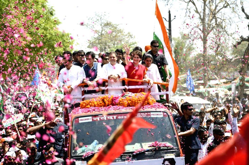 Amethi: Congress President Rahul Gandhi accompanied by party General Secretary (Uttar Pradesh East) Priyanka Gandhi Vadra, brother-in-law Robert Vadra, nephew Rehan and niece Miraya, on his way to file nomination from Uttar Pradesh's Amethi Lok Sabha - Rahul Gandhi and Priyanka Gandhi Vadra