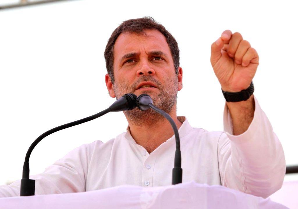 Amethi: Congress President Rahul Gandhi addresses a public rally in Uttar Pradesh's Amethi, on April 27, 2019. (Photo: IANS) - Rahul Gandhi
