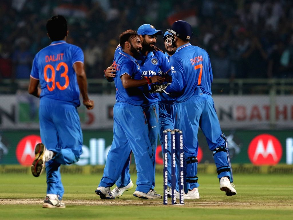 Amit Mishra of India celebrates fall of a wicket during the fifth ODI match between India and New Zealand at Dr. Y.S. Rajasekhara Reddy ACA-VDCA Cricket Stadium in Visakhapatnam on Oct ... - Amit Mishra