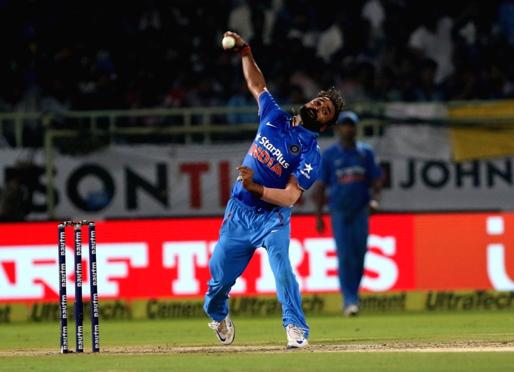 Amit Mishra of India in action during the fifth ODI match between India and New Zealand at Dr. Y.S. Rajasekhara Reddy ACA-VDCA Cricket Stadium in Visakhapatnam on Oct 29, 2016. - Amit Mishra