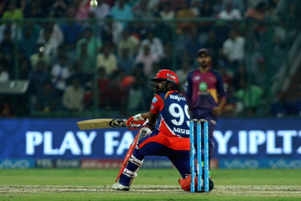 Amit Mishra of the Delhi Daredevils during match between the Delhi Daredevils and the Rising Pune Supergiant held at the Feroz Shah Kotla Stadium in Delhi on May 12, 2017. - Amit Mishra