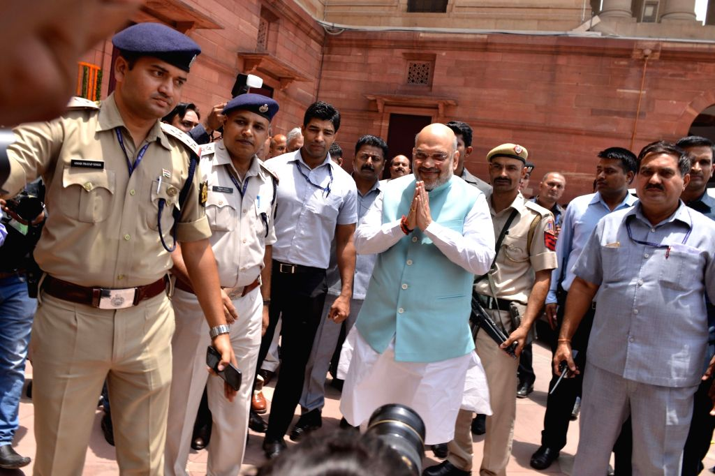 Amit Shah arrives to take charge as the Union Minister for Home Affairs, in New Delhi on June 1, 2019. - Amit Shah