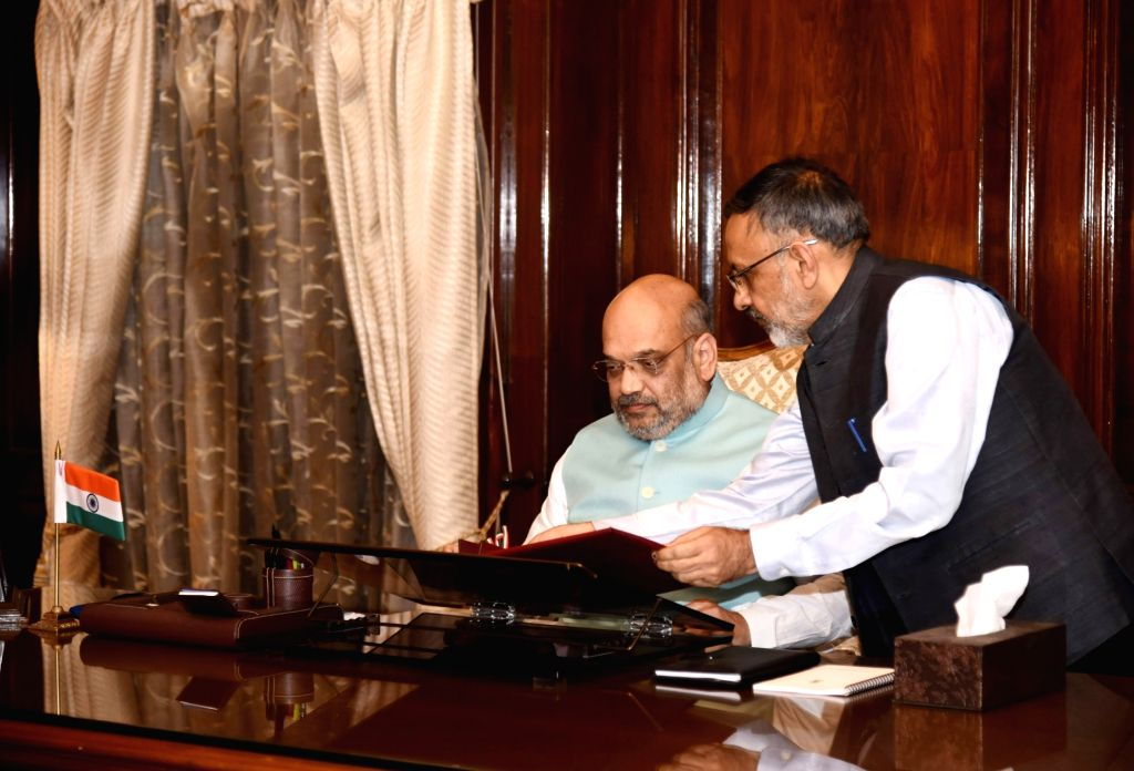 Amit Shah takes charge as the Union Minister for Home Affairs, in New Delhi on June 1, 2019. - Amit Shah