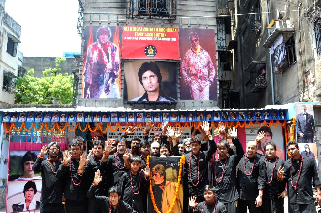 "Amitabh Bachchan Fan's Association members celebrate release of film ""Sarkar 3"" in Kolkata on May 12, 2017. - Amitabh Bachchan F"