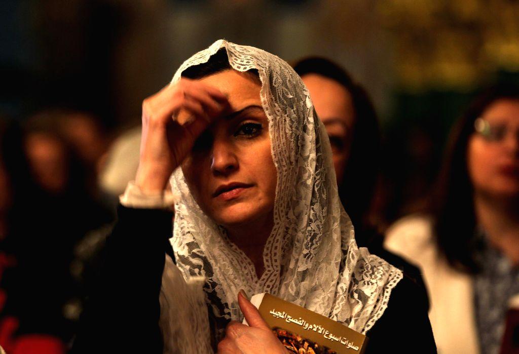 AMMAN, April 16, 2017 - Jordanian Christians attend a Mass pray for Easter at Orthodox Church in Amman, Jordan, April 15, 2017.