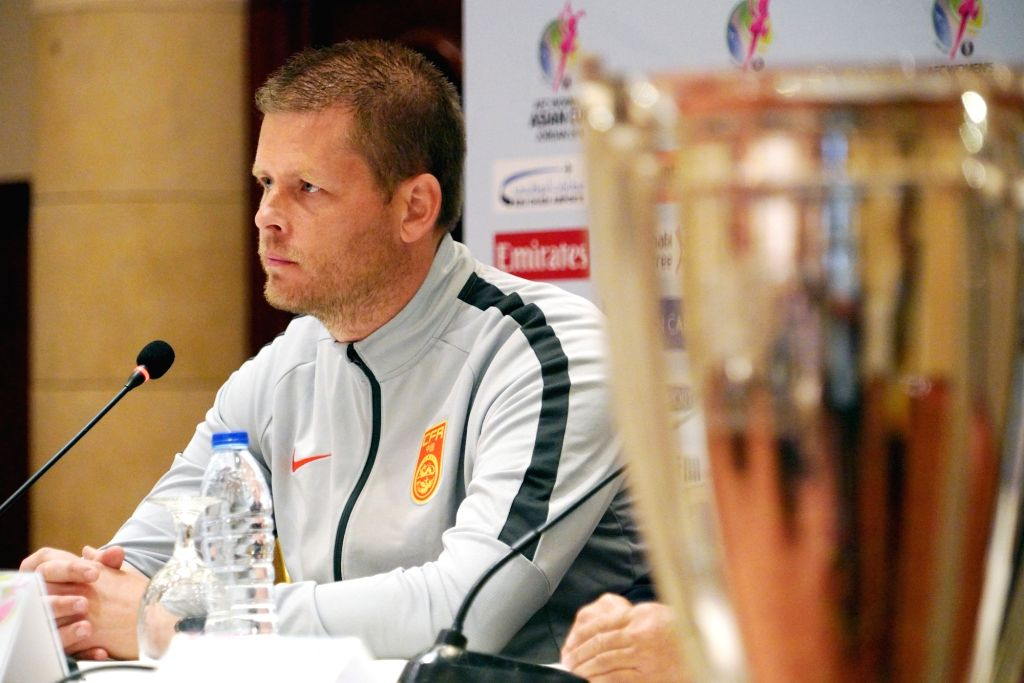 AMMAN, April 5, 2018 - China's head coach Sigurdur Eyjolfsson attends the press conference ahead of the opening game between China and Thailand at the 2018 AFC Women's Asian Cup in Amman, Jordan, on ...