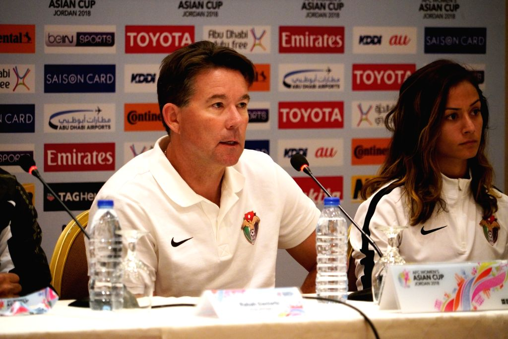 AMMAN, April 5, 2018 - Michael Dickey (L), head coach of Jordan attends the press conference before the match between Jordan and the Phillipines at the 2018 AFC Women's Asian Cup in Amman, Jordan, on ...