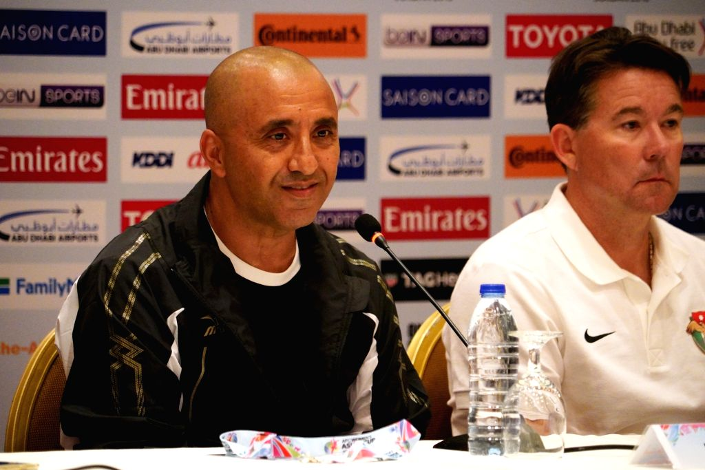 AMMAN, April 5, 2018 - Rabah Benlarbi (L), head coach of the Phillipines attends the press conference before the match between Jordan and the Phillipines at the 2018 AFC Women's Asian Cup in Amman, ...