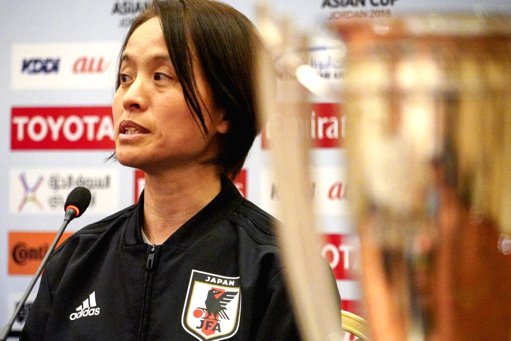 AMMAN, April 6, 2018 - Asako Takakura, head coach of Japanese women football team, attends a press conference prior to the match between Japan and Vietnam at 2018 AFC Women's Asian Cup in Amman, ...