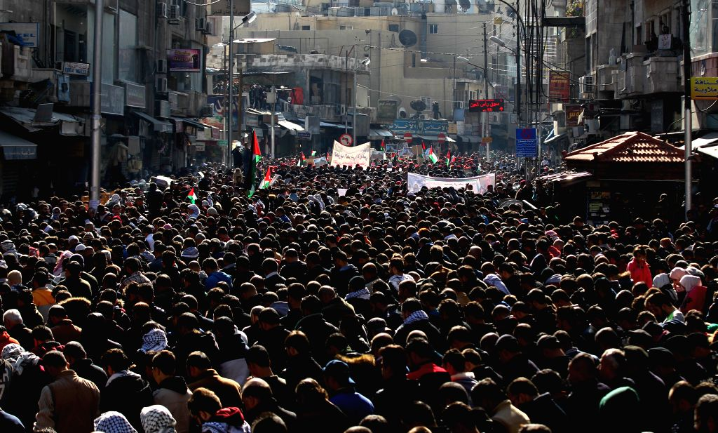 AMMAN, Dec. 8, 2017 - People participate in a protest against the U.S. President's decision to recognize Jerusalem as the capital of Israel, in Amman, capital of Jordan, on Dec. 8, 2017.