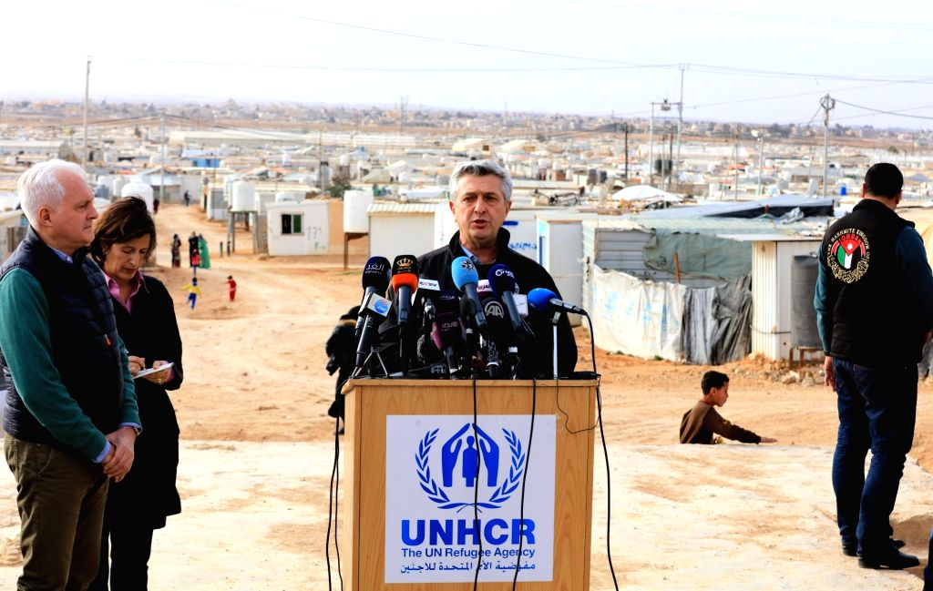AMMAN, Feb. 12, 2018 - The United Nations High Commission for Refugees (UNHCR) High Commissioner Filippo Grandi (C) speaks to the press during his visit to the Zaatari Syrian Refugee Camp in Mafraq, ...