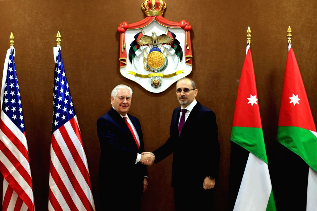 AMMAN, Feb. 14, 2018 - U.S. Secretary of State Rex Tillerson (L) shakes hands with Jordanian Foreign Minister Ayman Safadi during their meeting in Amman, Jordan on Feb. 14, 2018. Jordan and the U.S. ... - Ayman Safadi