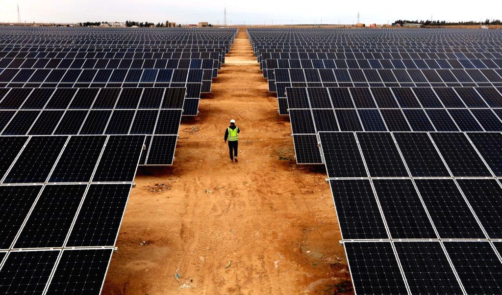 AMMAN, Feb. 21, 2019 - The photo taken on Feb. 21, 2019 shows part of Shams Al Mafraq, an under-construction solar project built by Jordan's Kawar Energy in Al Mafraq, north of Amman, Jordan. The ...