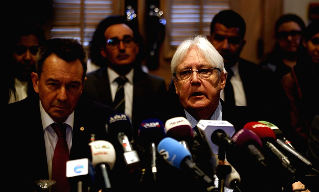 AMMAN, Feb. 5, 2019 - UN Special Envoy to Yemen Martin Griffiths (R) and President of the International Committee of the Red Cross Peter Maurer attend a new round of talks by Yemen's warring parties ...