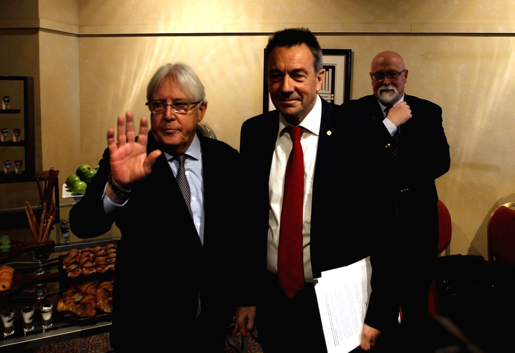 AMMAN, Feb. 5, 2019 - UN Special Envoy to Yemen Martin Griffiths (L) and President of?the International Committee of the Red Cross Peter Maurer attend a new round of talks by Yemen's warring parties ...