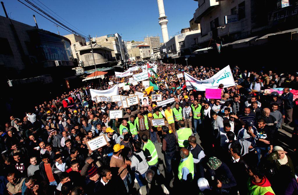 Jordanians protest against Israel's recent entry restrictions to the Old City of Jarusalem in Amman, Jordan, Nov. 7, 2014. Israeli Prime Minister Benjamin Netanyahu on Thursday reassured King . - Benjamin Netanyahu