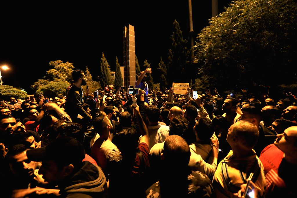AMMAN, June 1, 2018 - People gather in front of the Prime Ministry of Jordan during a protest against the government's decisions on increasing the prices of electricity and oil derivatives in Amman, ...