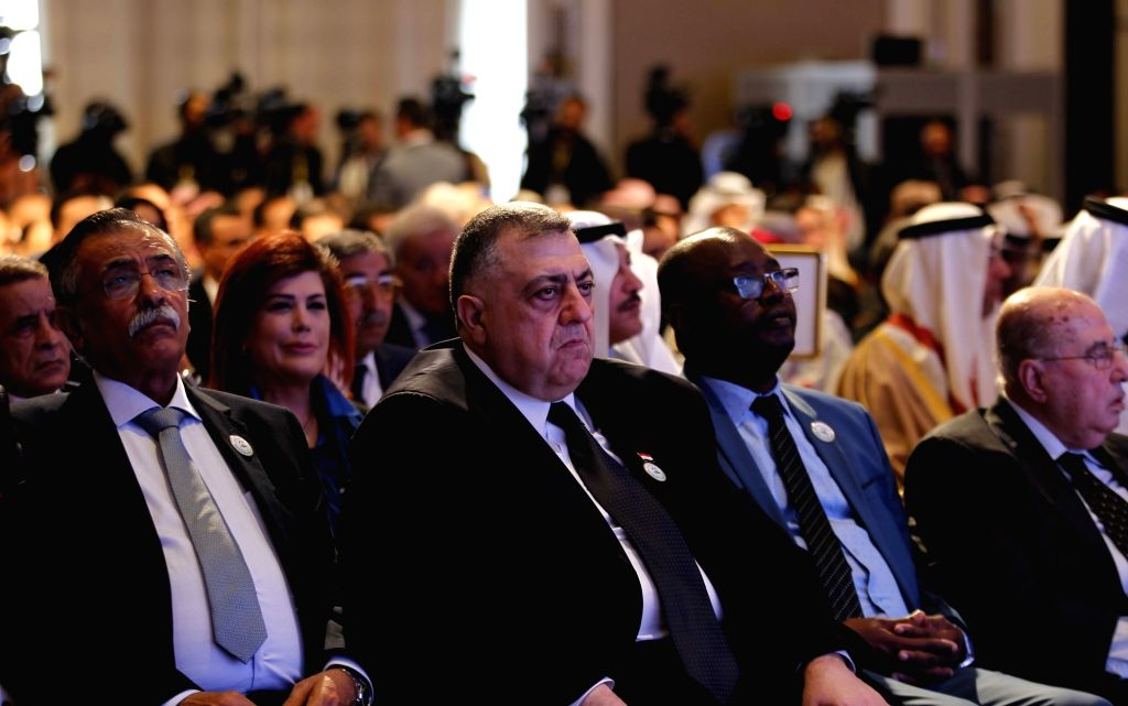 AMMAN, March 3, 2019 - Speaker of Syrian People's Assembly Hammoudeh Sabbagh (C, Front) attends the opening of the 29th conference of the Arab Inter-Parliamentary Union (AIPU) in Amman, Jordan, on ...