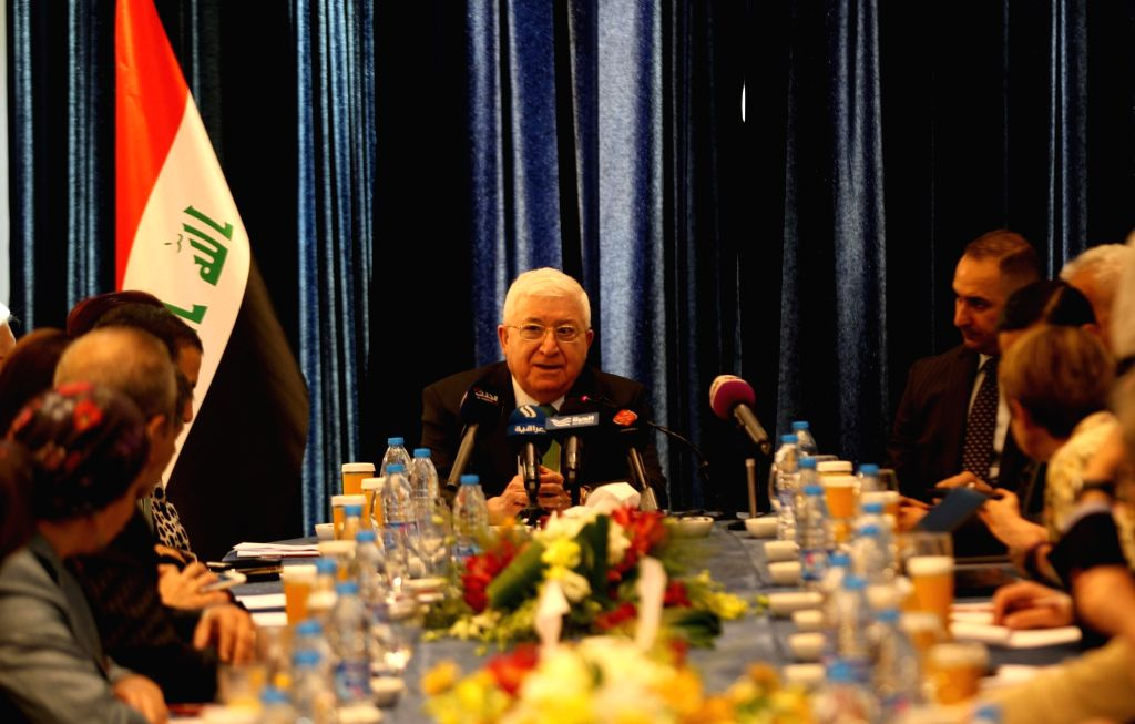 AMMAN, May 19, 2017 - Iraqi President Fouad Masoum (C) addresses a press conference during his visit in Amman, capital of Jordan, on May 19, 2017.