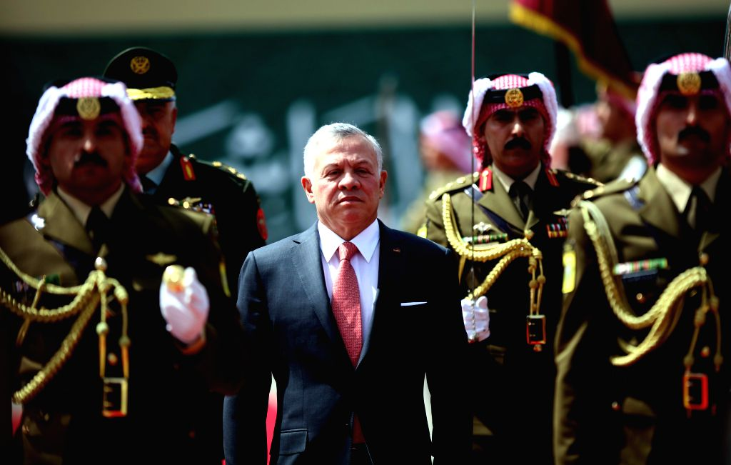 AMMAN, May 25, 2019 - Jordan's King Abdullah II (C) reviews the Royal Guard of Honor during the ceremony of the 73rd anniversary of the Independence of Jordan in Amman, Jordan, May 25, 2019.