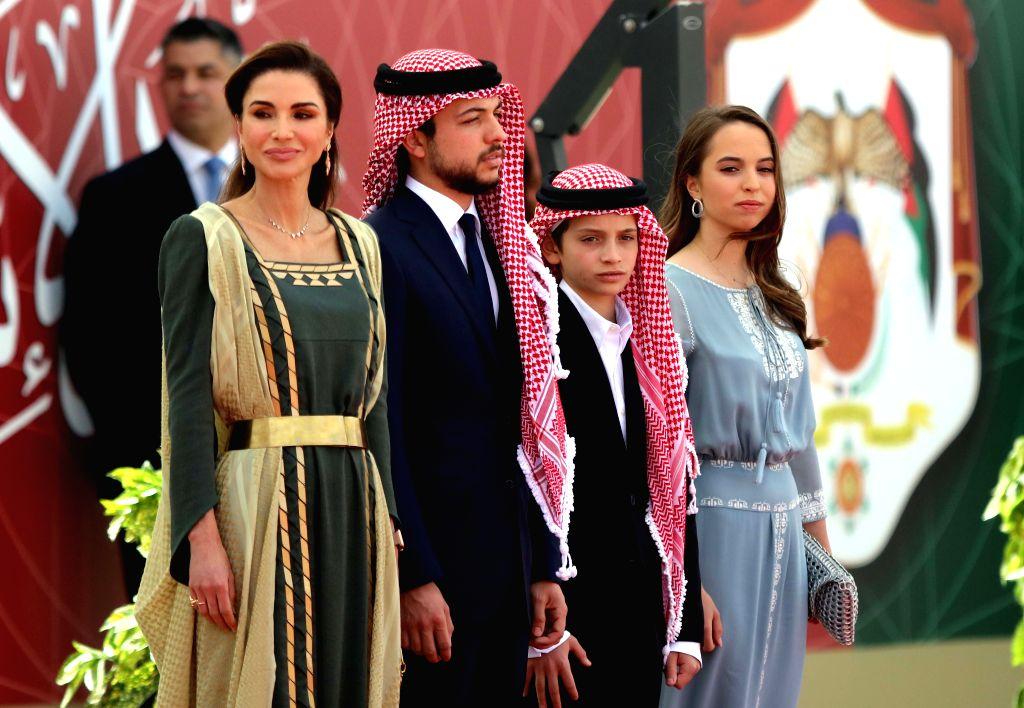 AMMAN, May 25, 2019 - Jordanian Queen Rania, Crown Prince Al Hussein bin Abdullah II, Prince Hashem bin Abdullah and Princess Salma bint Abdullah (L-R) attend the ceremony of the 73rd anniversary of ...