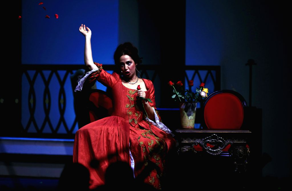 AMMAN, Oct. 17, 2019 - A singer performs in the opera the Barber of Seville at the Cultural Palace in Amman, Jordan, on Oct. 17, 2019. The third edition of Amman Opera Festival presented the famous ...