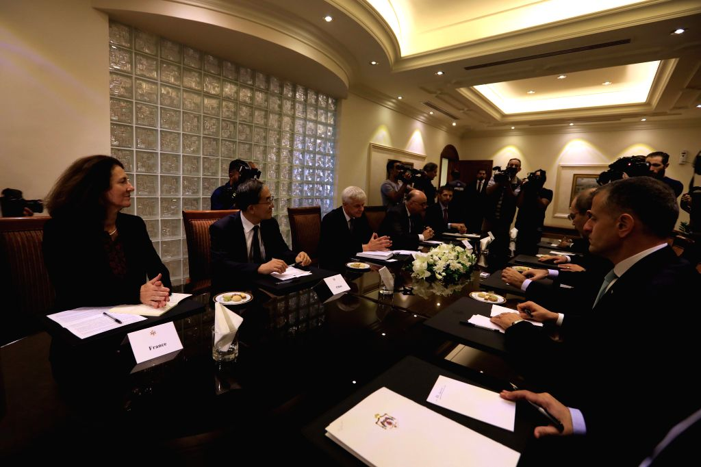 AMMAN, Sept. 12, 2019 - Jordanian Foreign Minister Ayman Safadi meets with ambassadors of the five permanent members of the UN Security Council at the Foreign Ministry in Amman, Jordan, on Sept. 12, ... - Ayman Safadi