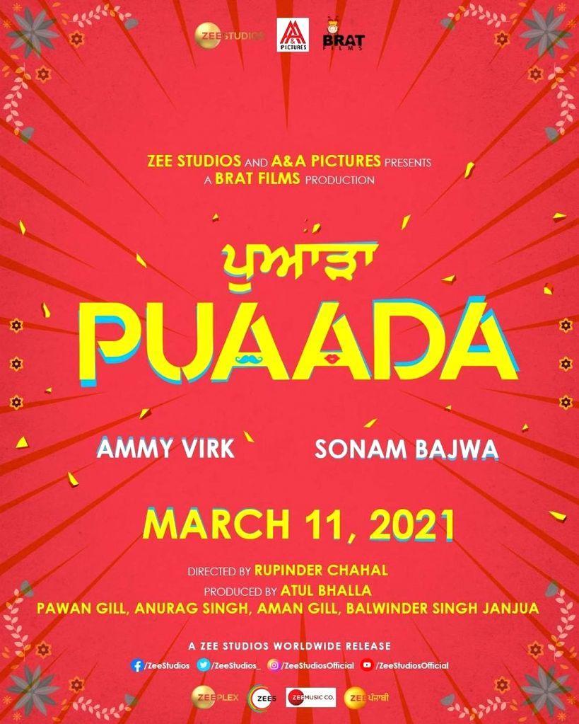 Ammy Virk-Sonam Bajwa's 'Puaada' to hit theatres in March.(photo:instagram)