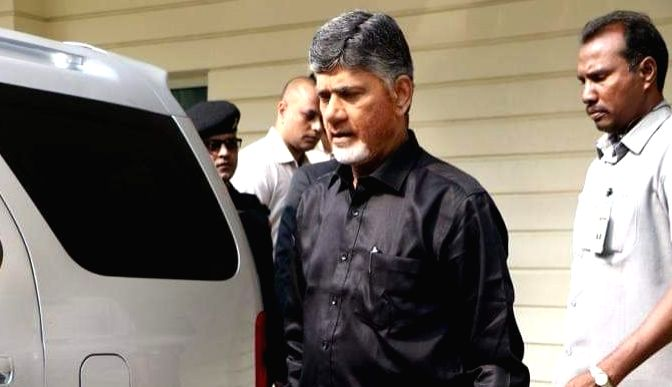 """Amravati: Andhra Pradesh Chief Minister and Telugu Desam Party (TDP) President N. Chandrababu Naidu arrives at the state assembly wearing black shirt to protest against the Centre's """"step motherly"""" treatment towdrs the state and for not fulfilling it - N. Chandrababu Naidu"""