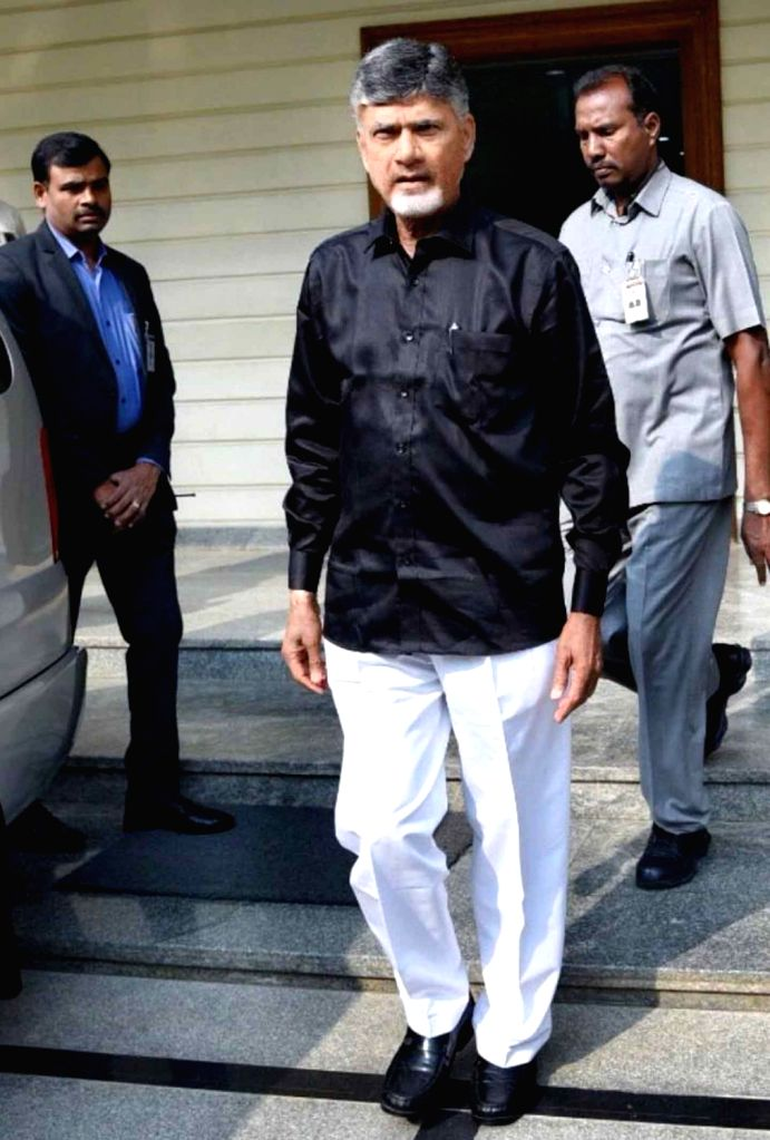 """Amravati: Andhra Pradesh Chief Minister and Telugu Desam Party (TDP) President N. Chandrababu Naidu arrives at the state assembly wearing black shirt to protest against the Centre's """"step motherly"""" treatment to the state and for not fulfilling its pr - N. Chandrababu Naidu"""