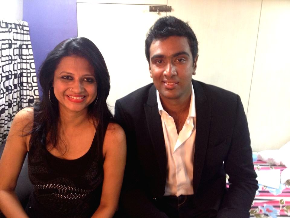 Amritha with Indian cricketer R Ashwin