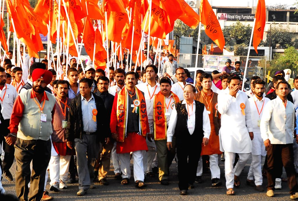 ABVP General Secretary Shreehari Borikar along with other leaders leading a March of Students to Participate in 60th National ABVP Conference, in Amritsar on Nov. 15, 2014.
