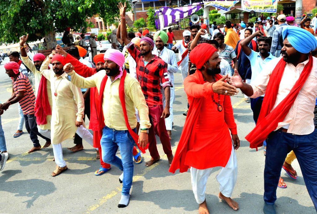 "Amritsar: Activists of Valmiki Samaj stage a demonstration against the Indian television show ""Ram Siya Ke Luv Kush"" in Amritsar on Sep 7, 2019. (Photo: IANS)"
