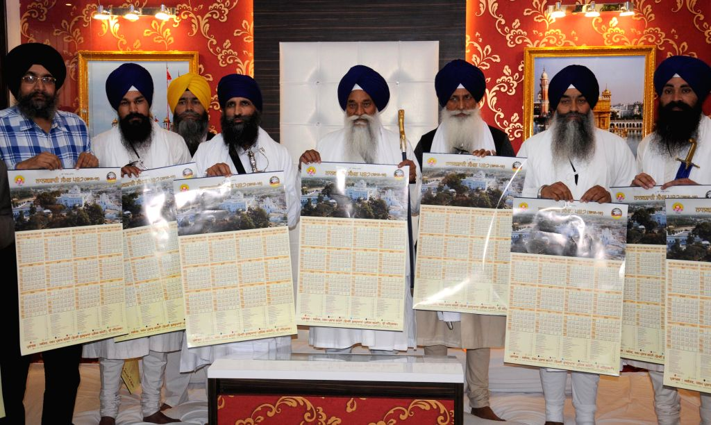 Akal Takht Jathedar Giani Gurbachan Singh and others at the launch of Nanakshahi Calendar in Amritsar, on March 14, 2015.
