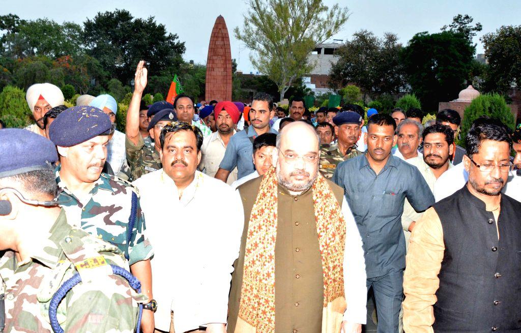 BJP chief Amit Shah at Jallianwala Bagh in Amritsar on May 2, 2015.