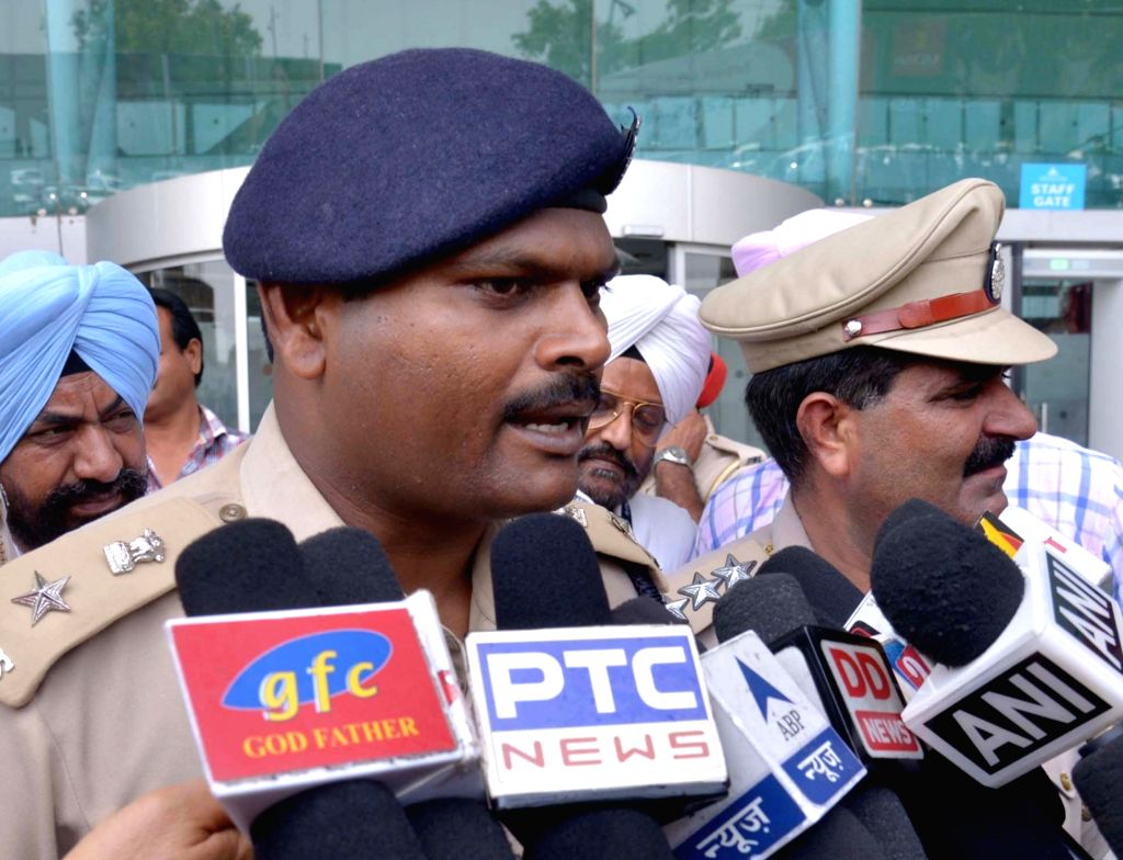 Amritsar deputy commissioner of police, J Elanchezhian talks to press after an unclaimed bag was found at the international airport from SpiceJet's Dubai-Amritsar flight in Amritsar on July 21, 2016.