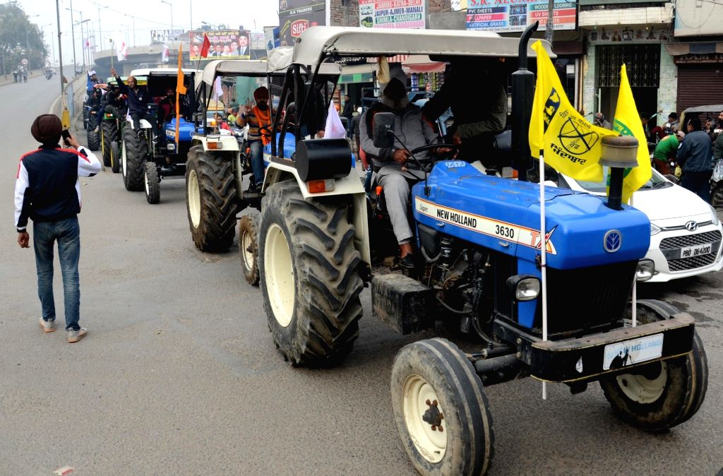 Amritsar: Farmers take out a tractor march as a part of the preparations for their planned tractor parade in the national capital on Republic day, during a protest against the new farm laws, in  Amritsar, Friday, Jan. 22, 2021  (Photo: Deepak Sharma/ - Deepak Sharma