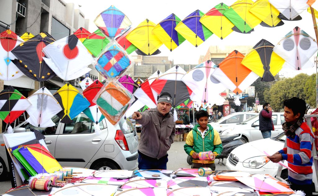 Kites on sale at a makeshift stall ahead of Lohri in Amritsar, on Jan 12, 2015.