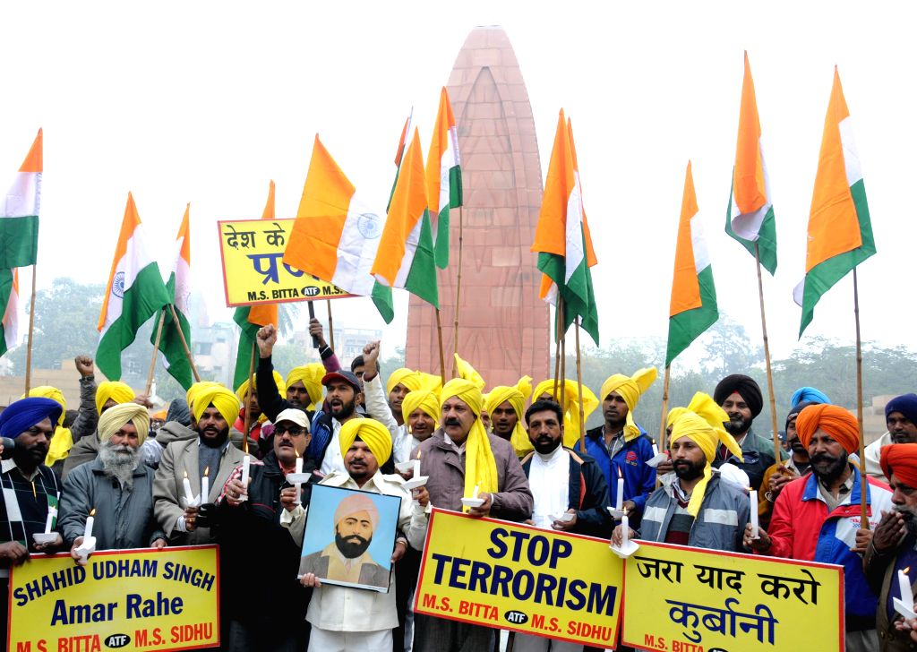 Members of All India Anti Terrorist Front during a demonstration at Jallianwala Bagh in Amritsar, on Dec 25, 2014.