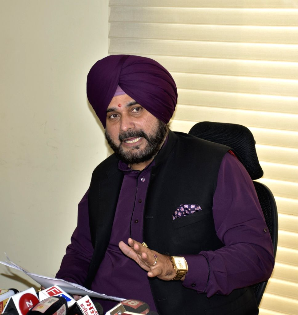 : Amritsar: Punjab Cabinet Minister Navjot Singh Sidhu addresses a press conference, in Amritsar on Oct 10, 2018. (Photo: IANS).