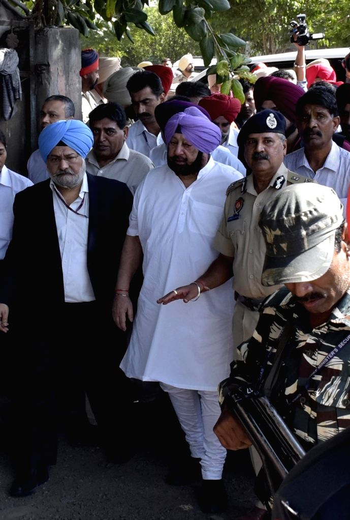: Amritsar: Punjab Chief Minister Captain Amarinder Singh visits the site where a local train crushed at least 60 people and left 72 injured while watching the burning of a Ravana effigy from a ...